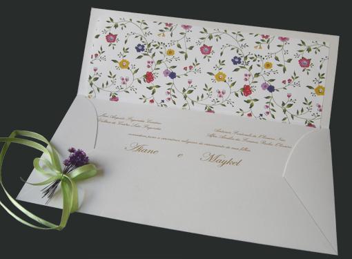 Convite Casamento - Carteira Florzinhas Aberto